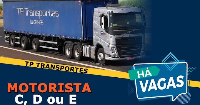Transportadora TP abre vagas para motorista de caminhão