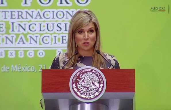 Queen Maxima attended the conference at National Palace in Mexico City. President Enrique Pena Nieto. Wore Natan Dress