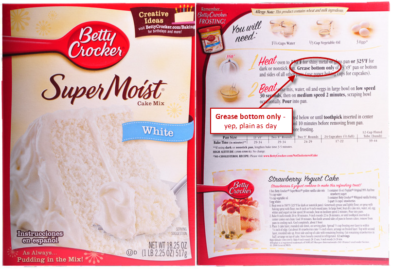 Betty Crocker Cake Box Directions