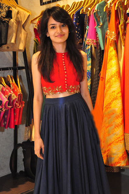 Navy Blue Plain Long Skirt Paired with Red Embroidered Crop Top by Talasha