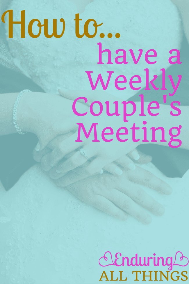 The weekly couple's meeting (or check-in as I like to call them) is a very important tool for your marriage. Taking time each week to be intentional about your marriage and to work on communication and bettering yourself as a spouse and just to be on the same page is a game changer!