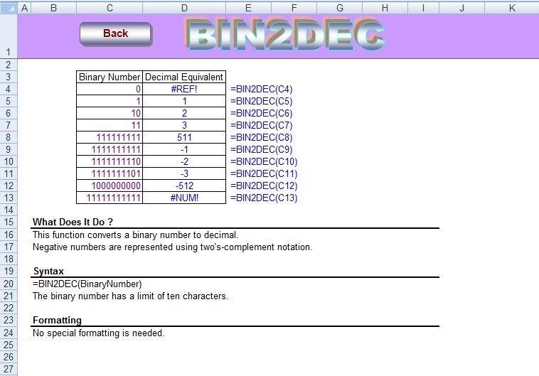 Excel Formula: BINARY to DECIMAL Formula