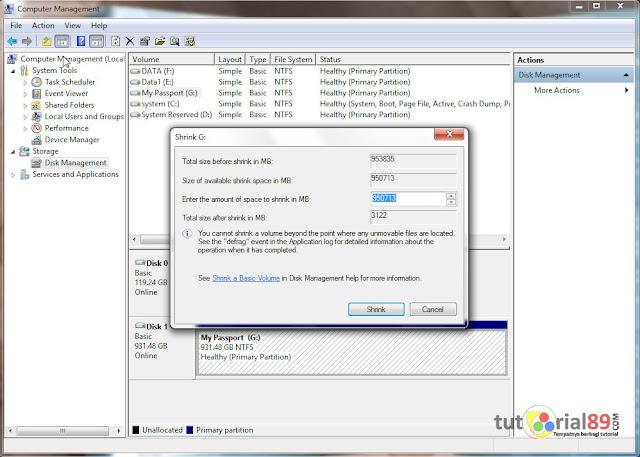 Cara partisi hardik external tanpa bantuan software tambahan
