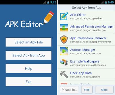Tampilan Aplikasi APK Editor Pro
