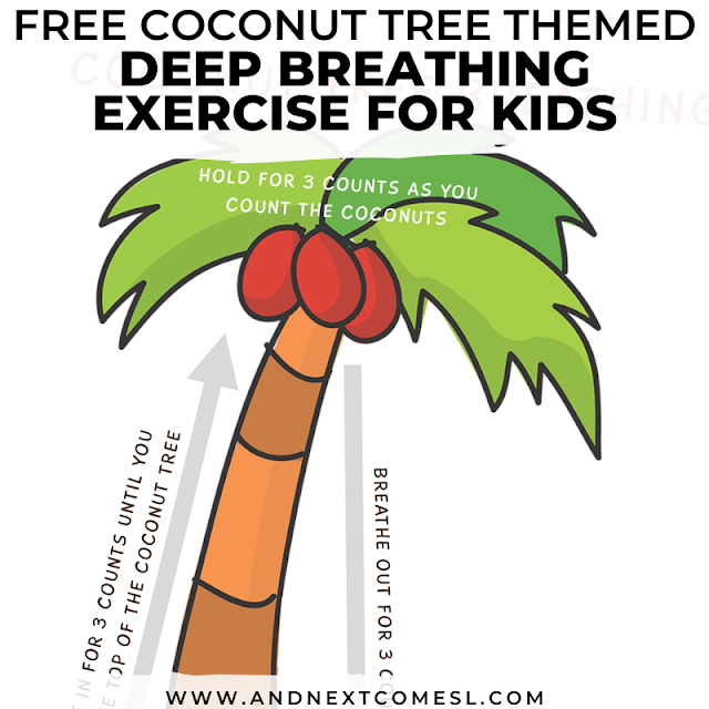 Free Chicka Chicka Boom Boom printable poster and deep breathing exercise for kids