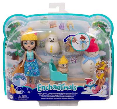 ENCHANTIMALS - Guerra de muñecos de nieve : Muñeca Sharlotte Squirrel & ardilla Walnut | Mattel | TOY - JUGUETE OFICIAL | Snowman Face-Off