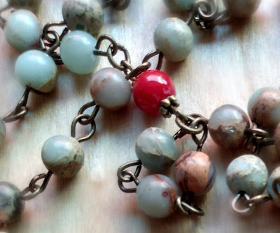 aqua terra jasper and coral beads links