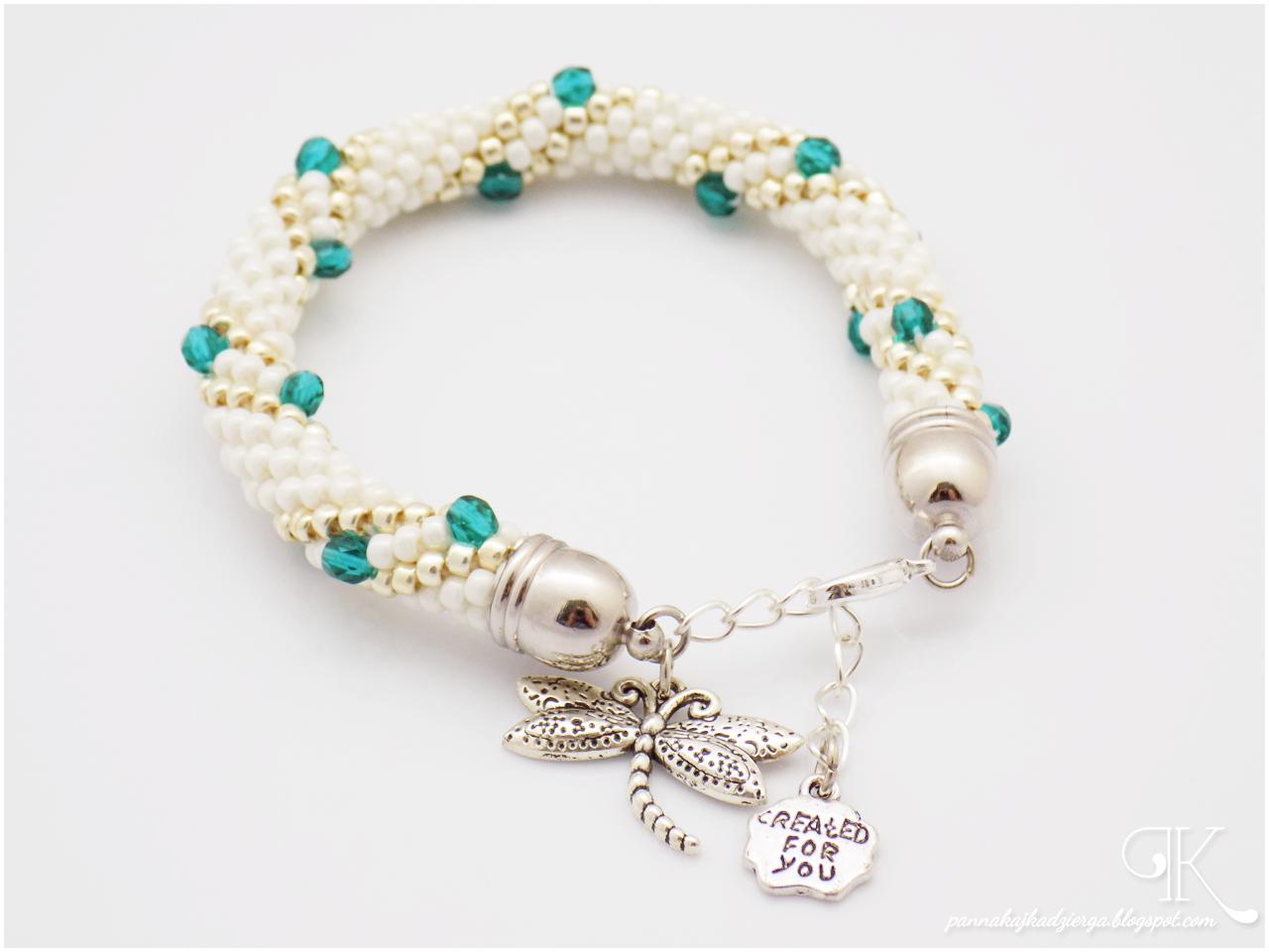 biżuteria, jewellery, handmade, rękodzieło, bransoletka, kaboszon, sznur szydełkowo-koralikowy, ukośnik, koraliki toho,