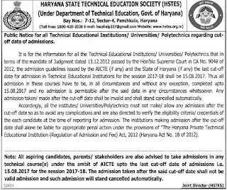Haryana Polytechnic Cut Off List News