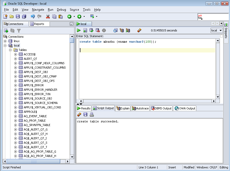 How to insert arabic data in oracle datawarehouse architect - Create table in oracle sql developer ...