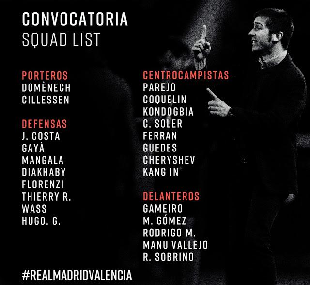 قائمة لاعبى فالنسيا لمواجهة ريال مدريد فى الجولة 28 من الدوري الاسباني
