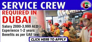 Service Crew and Waitress/ Waiter Job Recruitment For Hotels and Restaurant Industry in Dubai
