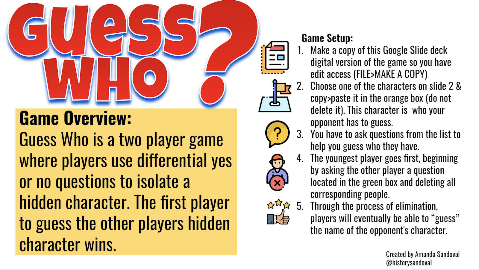 Digital Guess Who Game created in Google Drive