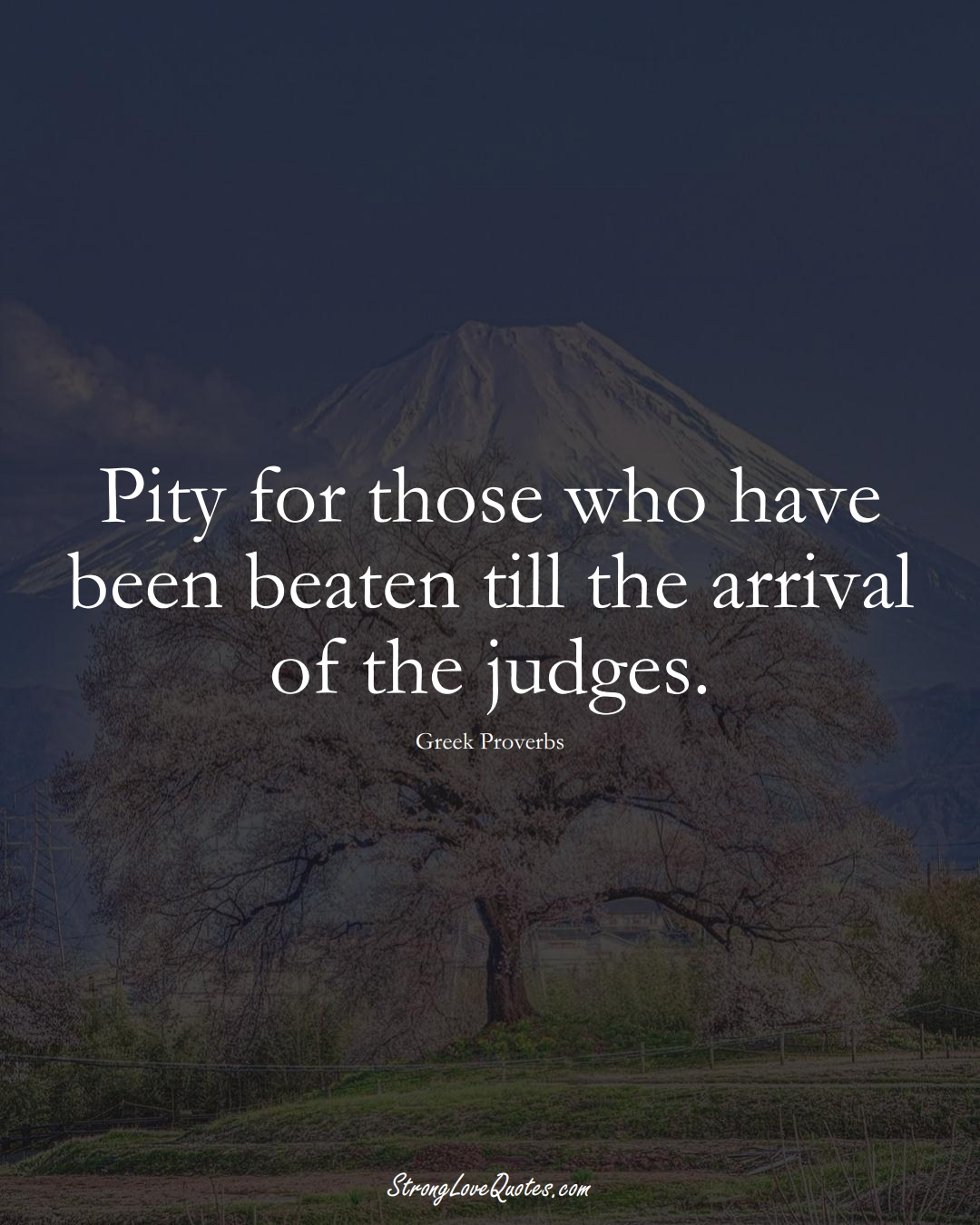 Pity for those who have been beaten till the arrival of the judges. (Greek Sayings);  #EuropeanSayings