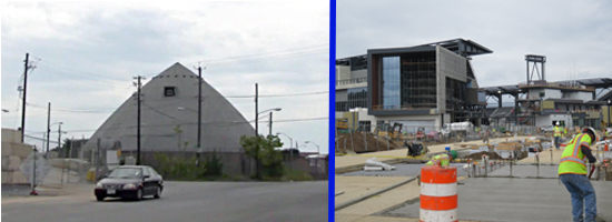 Before and After images of the DC United Stadium at Buzzard Point
