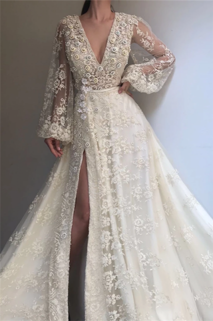 Exquisite Tulle Lace Beading Long Sleeves Prom Dress | Sexy V Neck Beading Slit Prom Dress