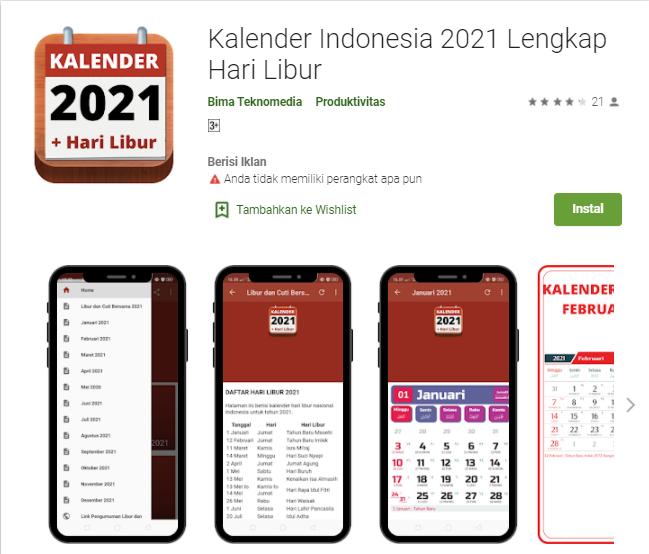 Aplikasi Kalender Indonesia 2021 Lengkap Hari Libur