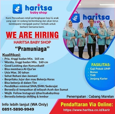 Lowongan Kerja Medan SMA SMK D3 S1 Juli 2021 Harista Baby Shop