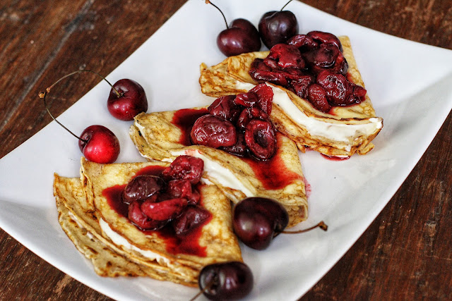 Crepes with Cherry Compote and Cream Cheese Filling