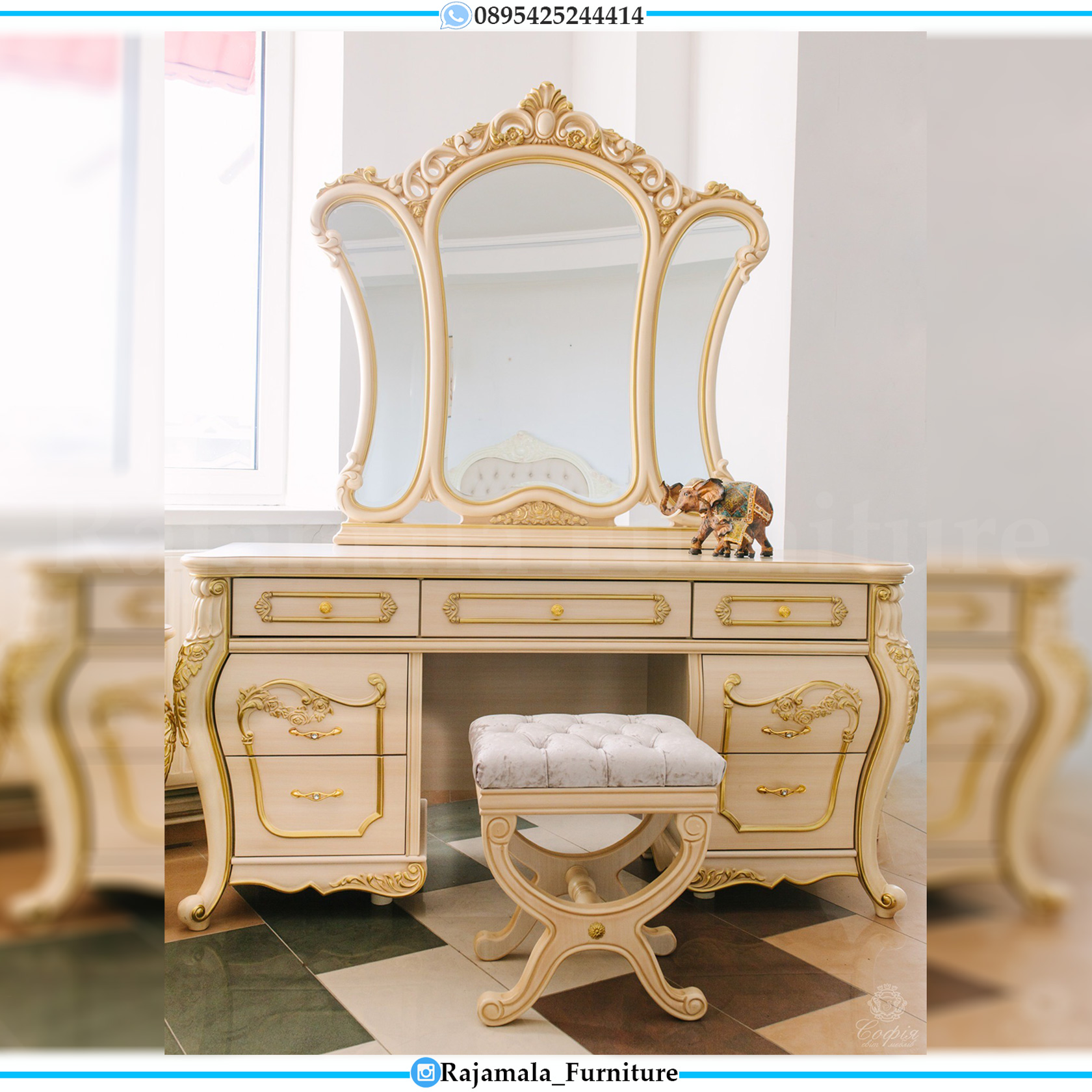Harga Meja Rias Mewah Jepara Beauty Vanity Room Set RM-0046