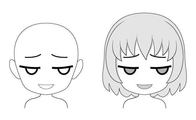 Ekspresi wajah anime chibi yang sombong