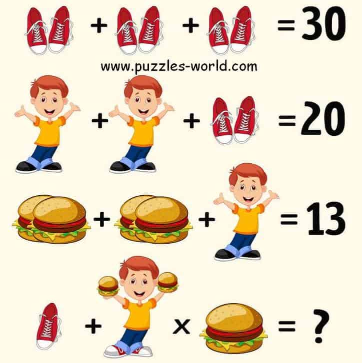 Shoes Boy Burger Puzzle
