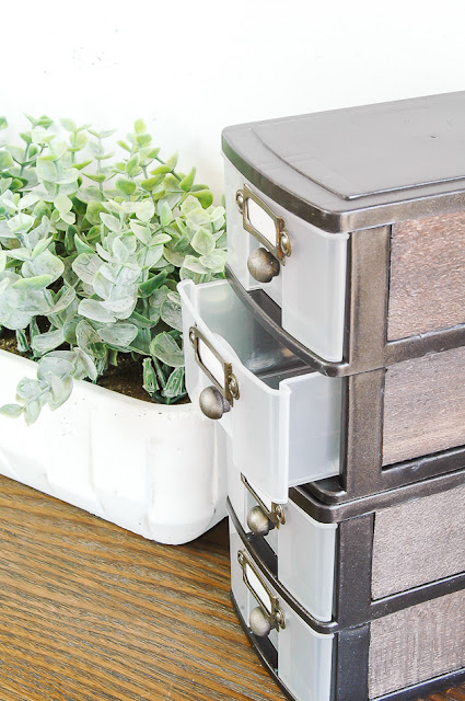DIY Dollar Tree modern industrial farmhouse storage drawers