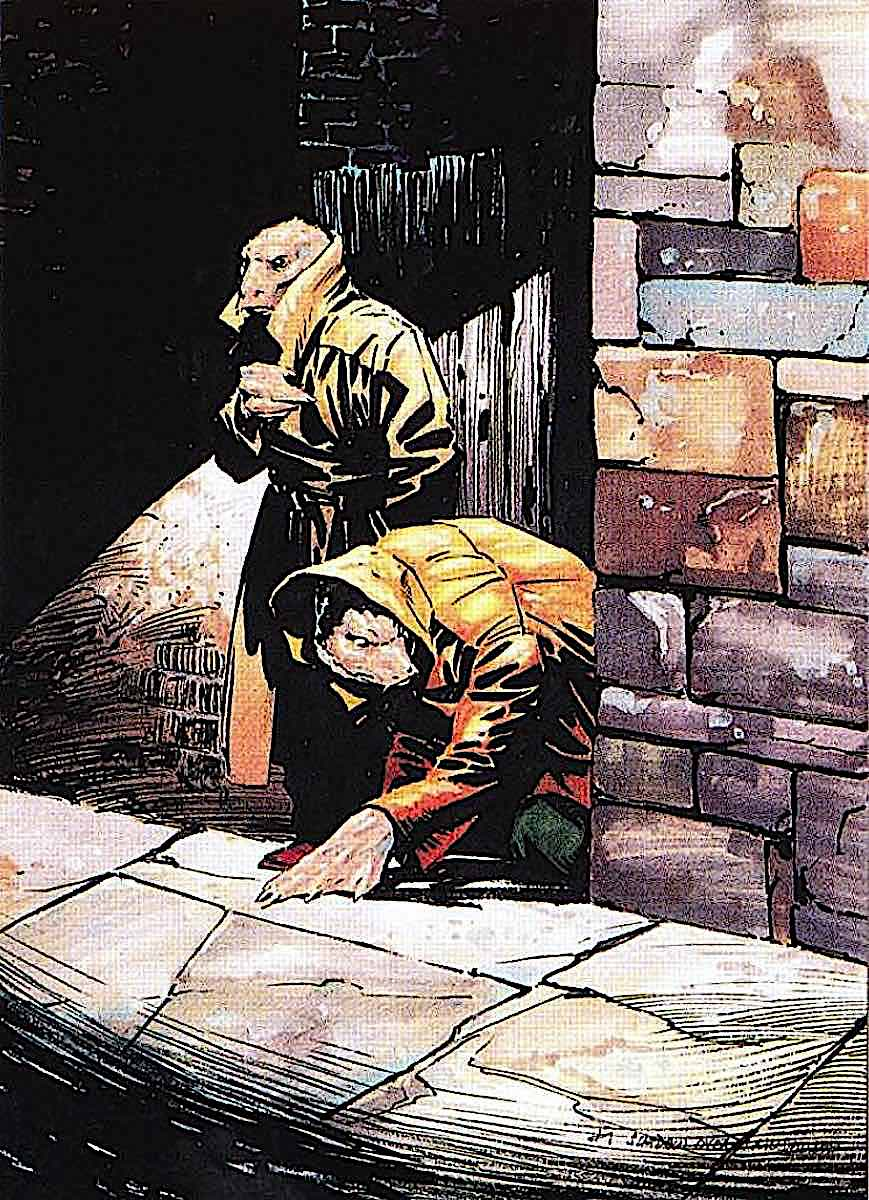 Bernie Wrightson, alien creatures in human clothing avoiding detection on a street at night