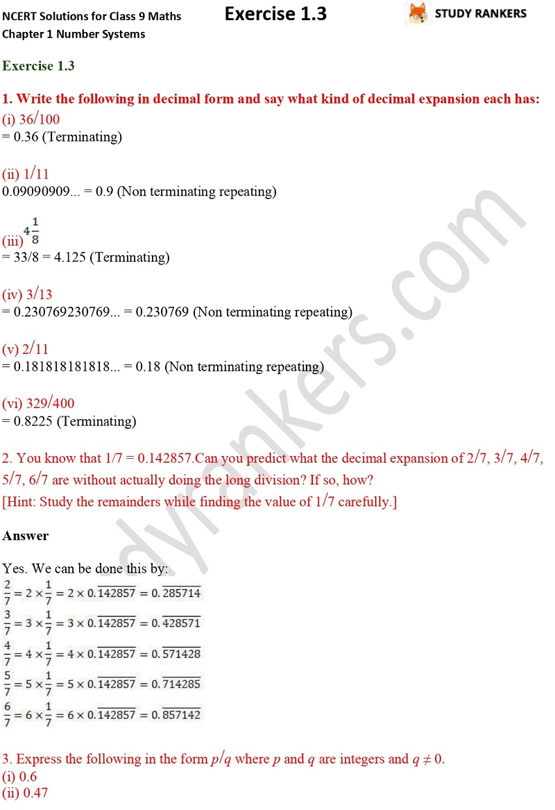 NCERT Solutions for Class 9 Maths Chapter 1 Number Systems Exercise 1.3 Part 1