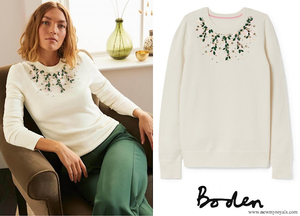 Princess Stephanie wore BODEN Montrose Embellished Sweater in Ivory