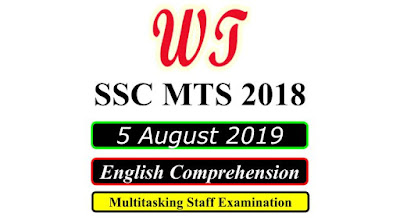 SSC MTS 5 August 2019 All Shifts English Questions PDF Download Free