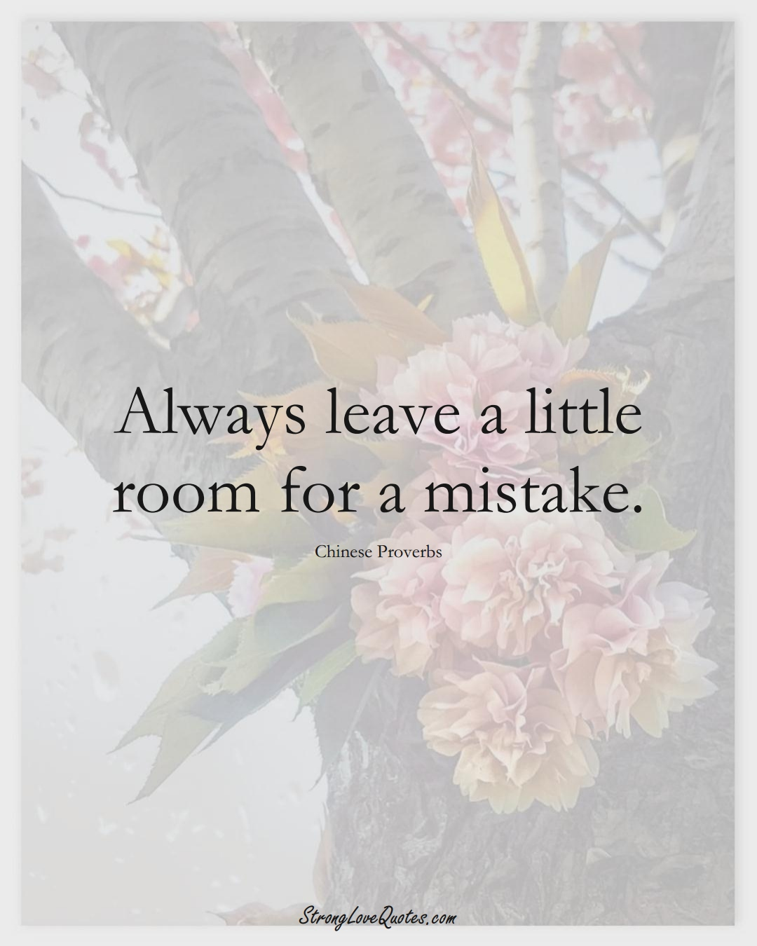 Always leave a little room for a mistake. (Chinese Sayings);  #AsianSayings