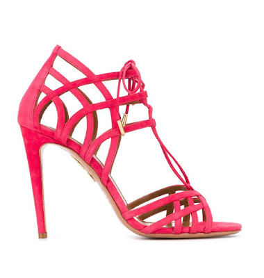 Aquazzura hot pink lace up stiletto sandals