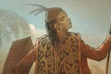 Litografi berjudul On the Head Hunting karya Carl Alfred Bock, yang melukiskan seorang lelaki Dayak dengan peranti berperang. (Carl Alfred Bock/Head Hunters of Borneo)