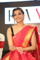 Kajal Aggarwal in Red Saree Sleeveless Black Blouse Choli at Santosham awards 2017 curtain raiser press meet 02.08.2017 024.JPG