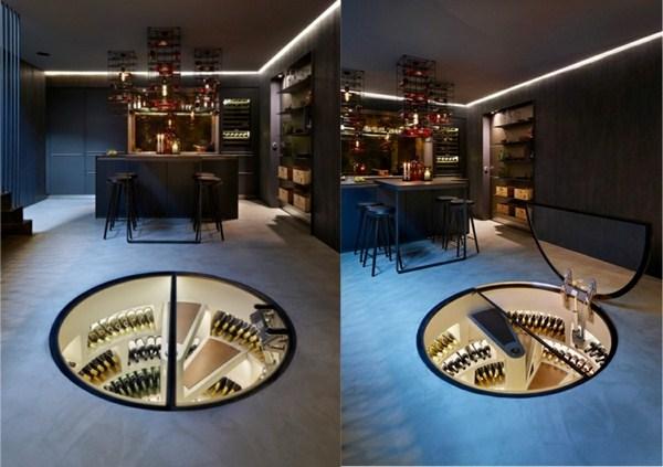 Wine Store Around Basement Kitchen Black Creative Spiral Staircase