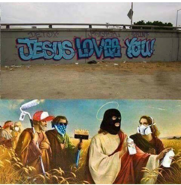 Funny Graffiti Jesus Loves You Religious Picture