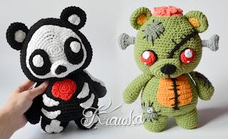 Krawka: Skeleton monster and zombie teddy bear, creepy and cute Halloween crochet pattern by Krawka https://www.etsy.com/pl/listing/742631971/crochet-pattern-no-1918-skeleton-teddy?ref=shop_home_feat_2