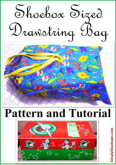 How to sew a drawstring bag large enough to hold an Operation Christmas Child shoebox.