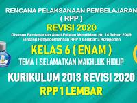 RPP 1 Lembar Kelas 6 Tema 1 SD/MI Kurikulum 2013 Revisi 2020 Tahun Pelajaran 2020 - 2021