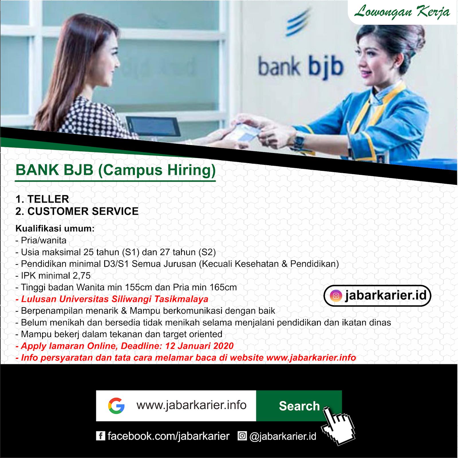 Lowongan Teller Customer Service Bank Bjb Terbaru Januari 2020 Lowongan Kerja Terbaru Tahun 2020 Informasi Rekrutmen Cpns Pppk 2020