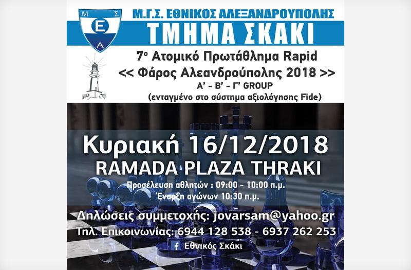 Τουρνουά γρήγορου σκακιού «Φάρος Αλεξανδρούπολης»