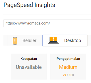 Hasil Test Page Speed Google VioMagz Free Download Gratis Skor Via Seluler