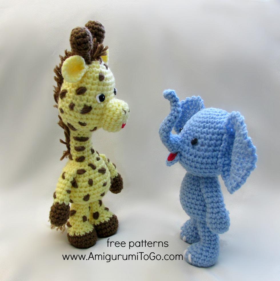 jirafa elefante amigurumi