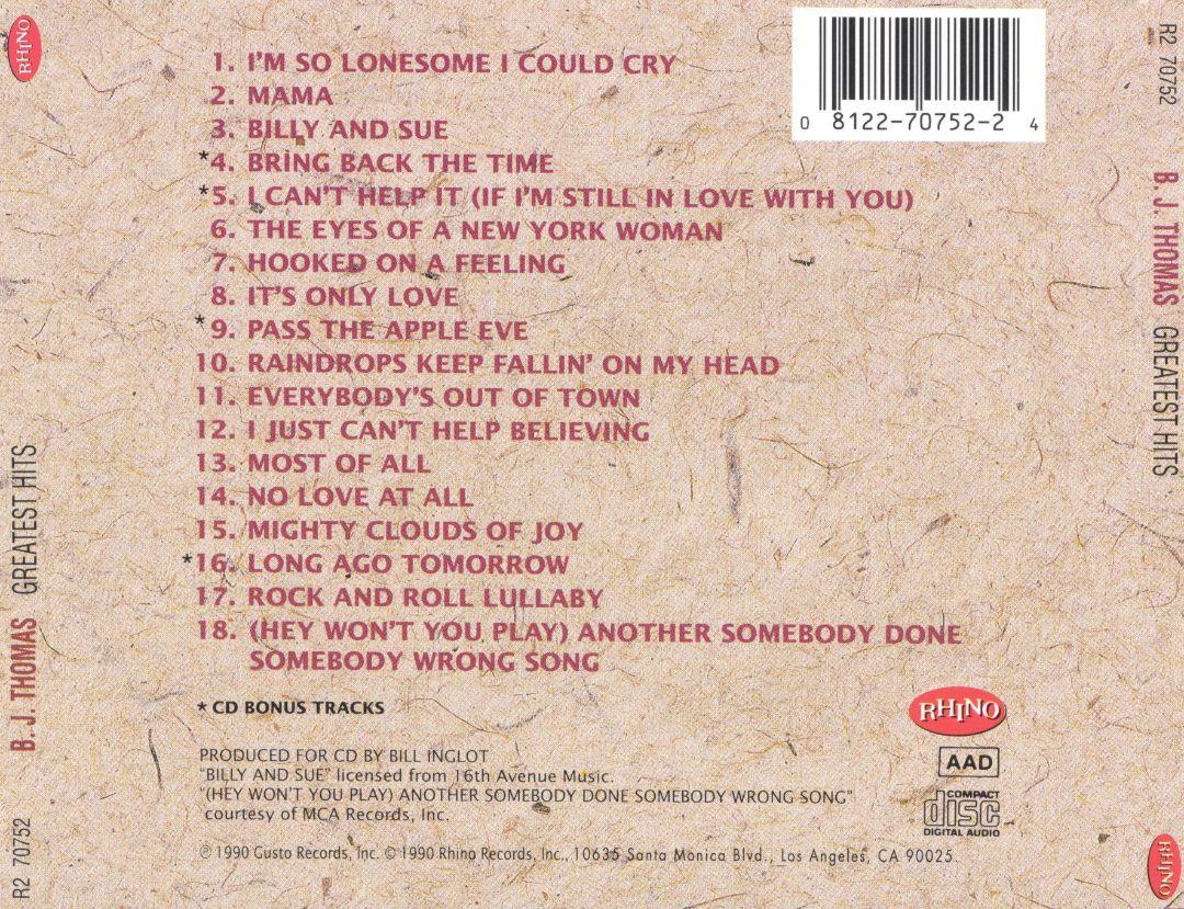 Music Of My Soul: B J Thomas-1990-Greatest Hits(Rhino