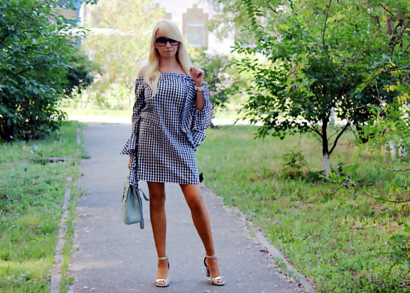 "Shopping on ROSEWHOLESALE: Bell Sleeve Checked Dress. Платье в клетку ""виши"""