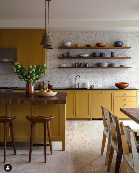 ORC inspiration: dark counters, light flooring, golden cabinets