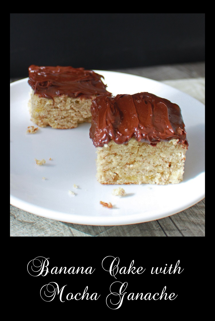 Banana cake on a plate from scratch this dense cake with a mocha chocolate frosting