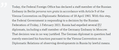 """""""The Foreign Office today declared 'persona non grata' an employee of the Russian embassy in Berlin,"""""""