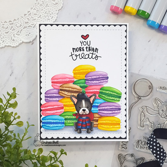 French Themed Puppy Treats Card by Andrea Shell | Love & Chocolate, Fabulous Frenchies and Say Woof Stamp Sets by Newton's Nook Designs